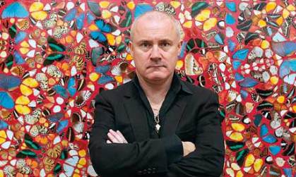 Damien Hirst painting with dead.